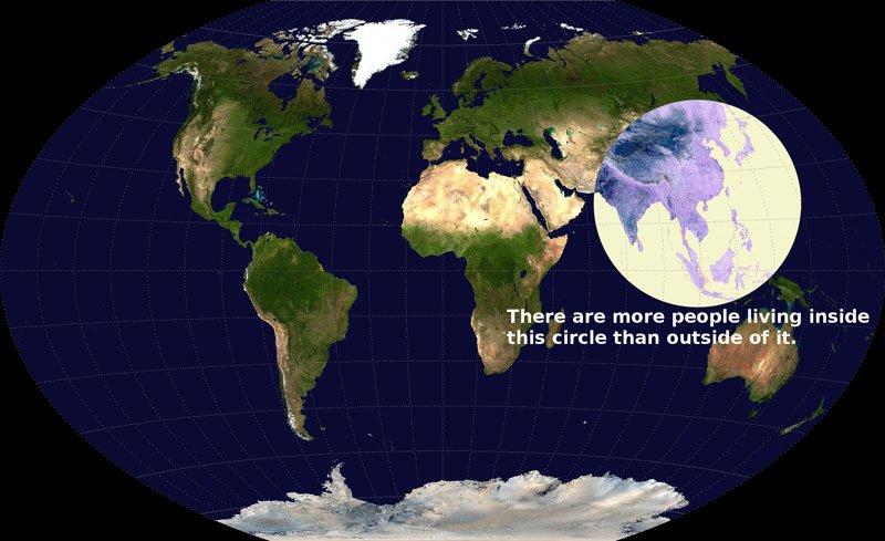 region densidad de población mundo círculo